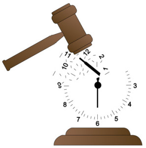 gavel smashing clock and scattering it - time concept - vector